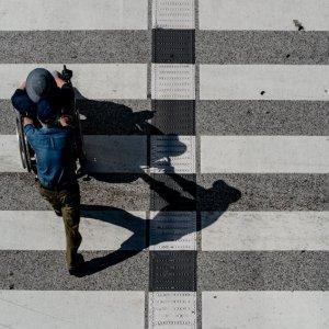 Wheelchair crossing crosswalk