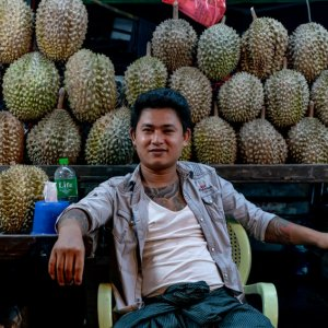 Durian in night market in Yangon
