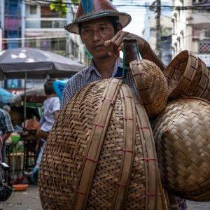 Man peddling baskets