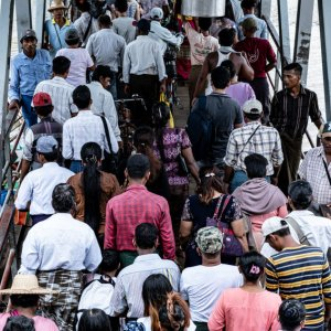 Passengers disembarking from ferry