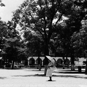 広場に立ち止まる老婆