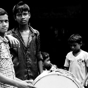 Boys practicing drumming