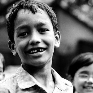 School boy smiling