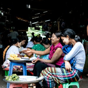 Woman selling Zongzi in market