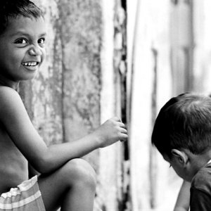 Boy playing in shade