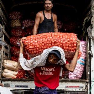 Man unloading bags