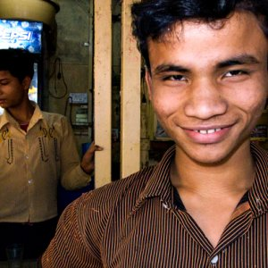 Man grinning