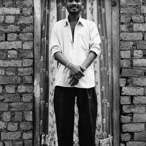 Man standing in front of door