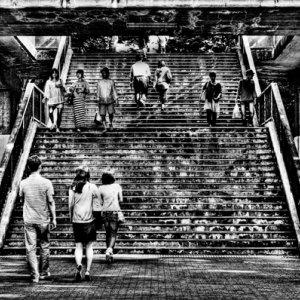 階段を登り降りする人びと