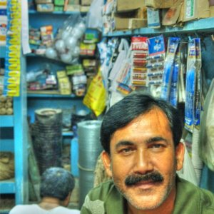 Calm man in small shop