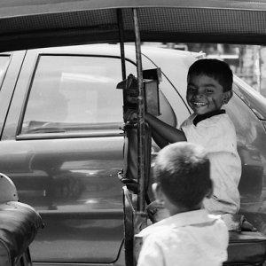 Kids on auto rickshaw