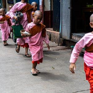 歩道を歩く幼い比丘尼たち