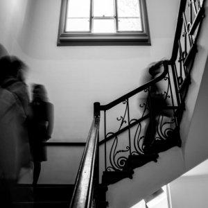 Figures goingup and down stairway in Kuroda Memorial Hall