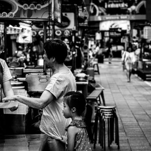 Mother and daughter in deserted Ningxia Night Market