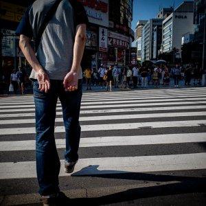 Pedestrians at the pedestrian crossing
