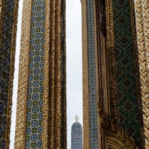 decorative pagoda between decorative pillars in Wat Phra Kaeo