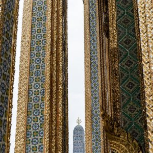 decorative pagoda between decorative pillars in Wat Phra Kaew