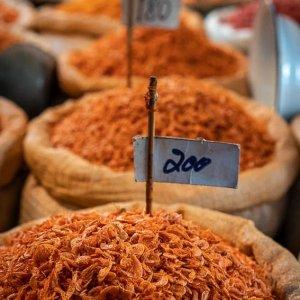 Heap of dried shrimp in Tha Tien Market
