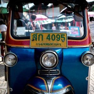 Tuk-tuk parked by the roadside