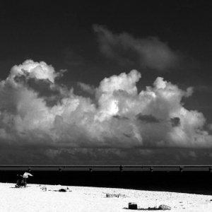 海に向かって走る女の子