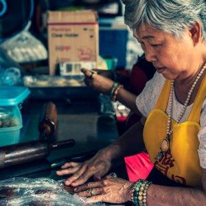 Women making dumplings