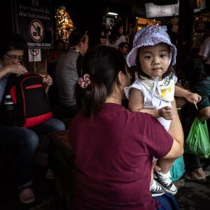 Little girl in Spanish restaurant in Chatuchak Market
