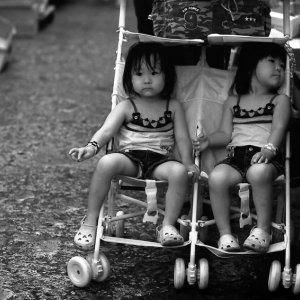 ベビーカーに乗った双子