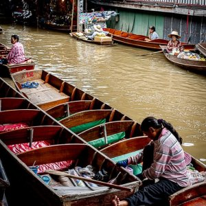 Empty boats in Damnoen Saduak Floating Market