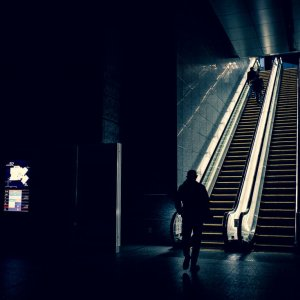 Escalator in the darkness