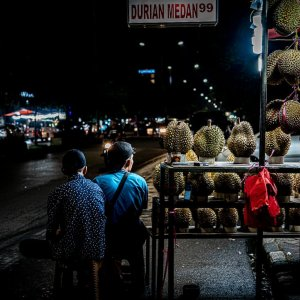 Durians sold by the roadside