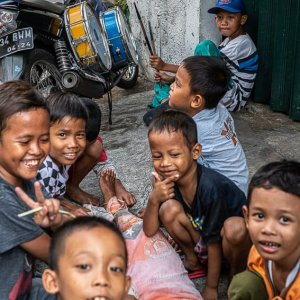 Boys playing in Taman Sari district in Jakarta
