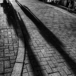 路面に落ちた長い影