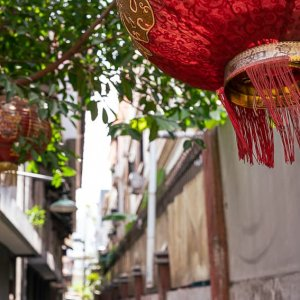 Red lanterns in the lane