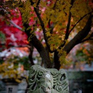 Old stone statue at Nishimuki Tenjinsha Shrine