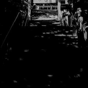 急な階段の上にあった金比羅宮の鳥居