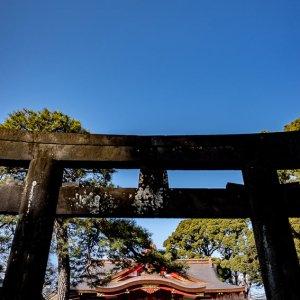 Torii gate and the hall of worship at Shinagawa Shrine