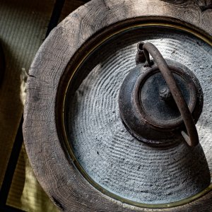 brazier and iron kettle