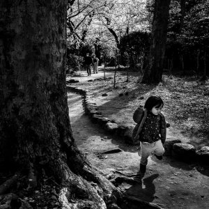 外濠公園を走る男の子