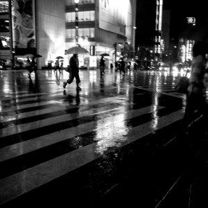 雨の数寄屋橋交差点