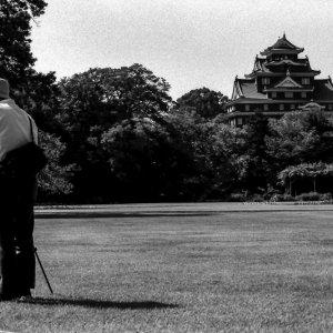 Okayama castle and photographer