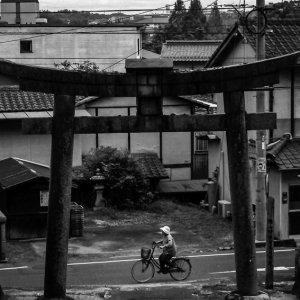 自転車で鳥居の前を通り過ぎる老婆