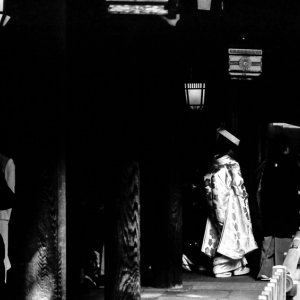 Bride walking the dark cloister in Meiji Jingu