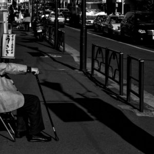 Old man sitting on chair