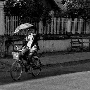 日傘を差しながら自転車に乗る女性