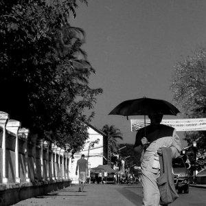 黒日傘を差して歩く僧侶