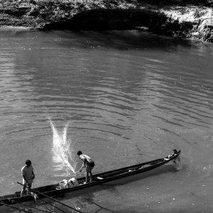 Men fishing on the boat