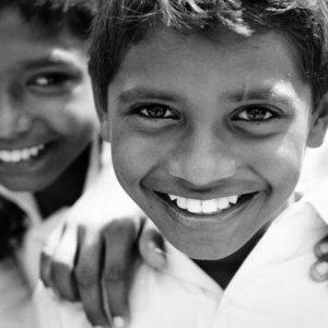 White teeth of boy
