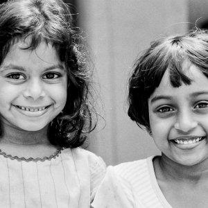 Girls grinning broadly