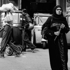 Woman walking with chador