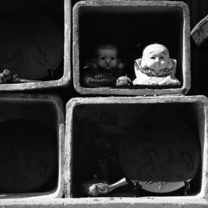 Dolls in shelf